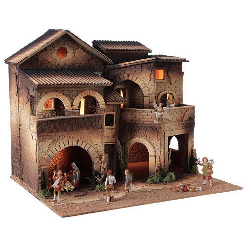 Village crèche éclairé grand balcon 40x50x40 cm santons 8 cm Moranduzzo 3