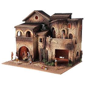Borgo presepe illuminato terrazzo 40x50x40 statue 8 cm Moranduzzo s2