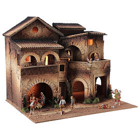 Borgo presepe illuminato terrazzo 40x50x40 statue 8 cm Moranduzzo s3