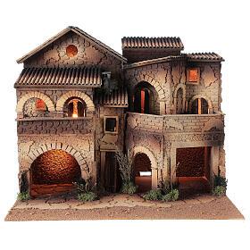 Borgo presepe illuminato terrazzo 40x50x40 statue 8 cm Moranduzzo s7