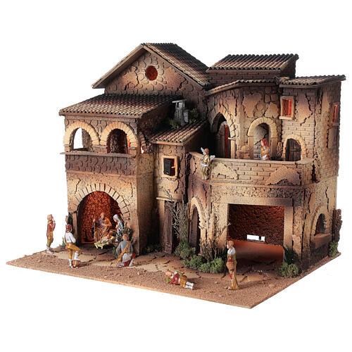 Borgo presepe illuminato terrazzo 40x50x40 statue 8 cm Moranduzzo 2