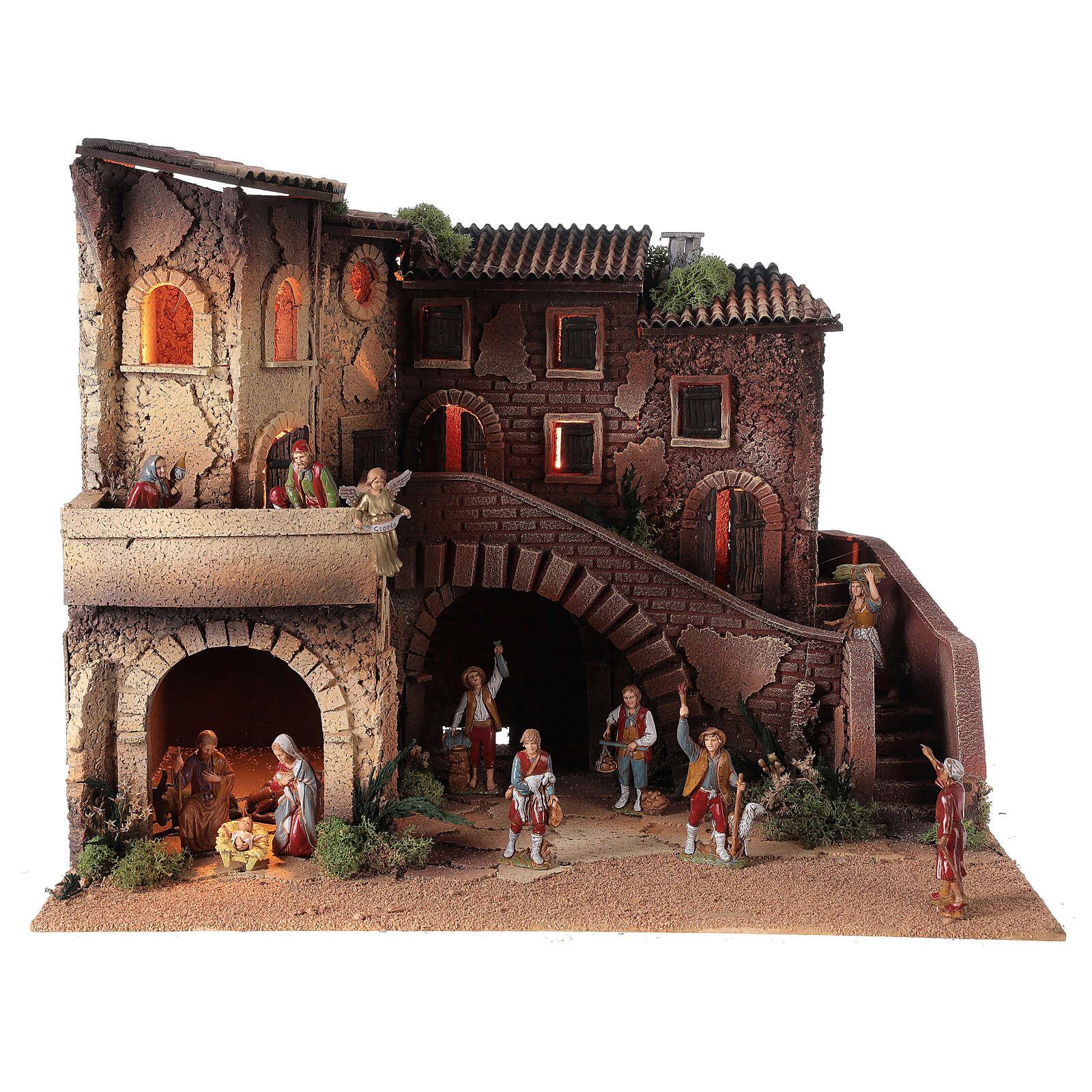 Ambientazione presepe completo terrazzo 40x50x40 statue Moranduzzo 8 cm 4