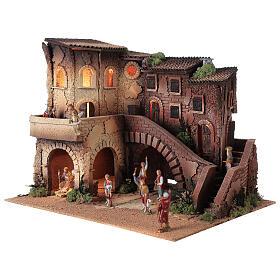 Ambientazione presepe completo terrazzo 40x50x40 statue Moranduzzo 8 cm s2