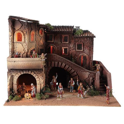 Ambientazione presepe completo terrazzo 40x50x40 statue Moranduzzo 8 cm 1