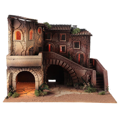 Ambientazione presepe completo terrazzo 40x50x40 statue Moranduzzo 8 cm 7