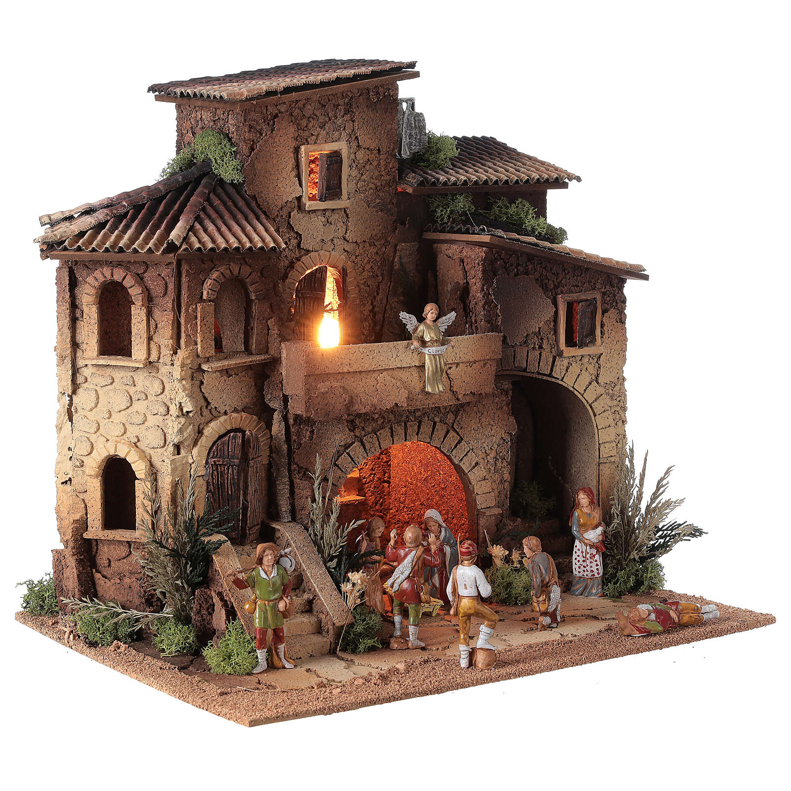 Presepe borgo completo doppia scala 40x40x30 statue 8 cm Moranduzzo 4