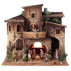 Presepe borgo completo doppia scala 40x40x30 statue 8 cm Moranduzzo s1