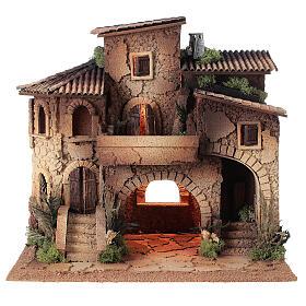 Presepe borgo completo doppia scala 40x40x30 statue 8 cm Moranduzzo s7
