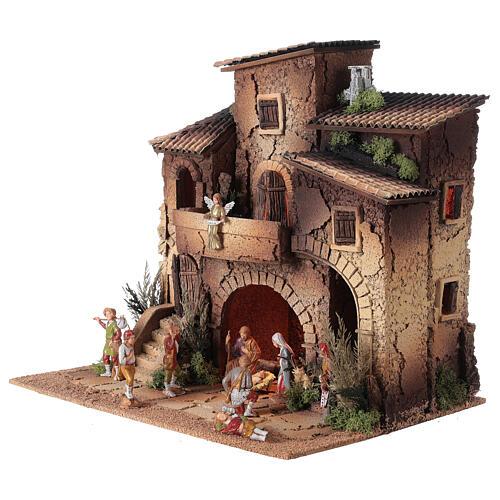 Presepe borgo completo doppia scala 40x40x30 statue 8 cm Moranduzzo 2