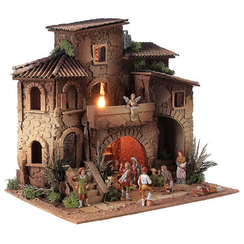 Presepe borgo completo doppia scala 40x40x30 statue 8 cm Moranduzzo 3