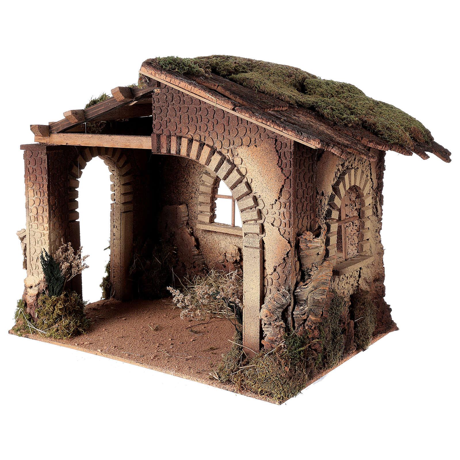 Cabane crèche feu pour Nativité 30 cm 55x60x45 cm 4
