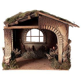 Cabane crèche feu pour Nativité 30 cm 55x60x45 cm s1