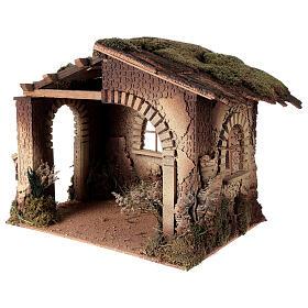 Cabane crèche feu pour Nativité 30 cm 55x60x45 cm s2