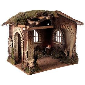 Cabane crèche feu pour Nativité 30 cm 55x60x45 cm s3