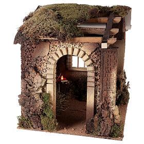Cabane crèche feu pour Nativité 30 cm 55x60x45 cm s4