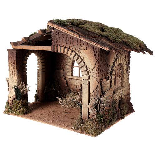 Cabane crèche feu pour Nativité 30 cm 55x60x45 cm 2
