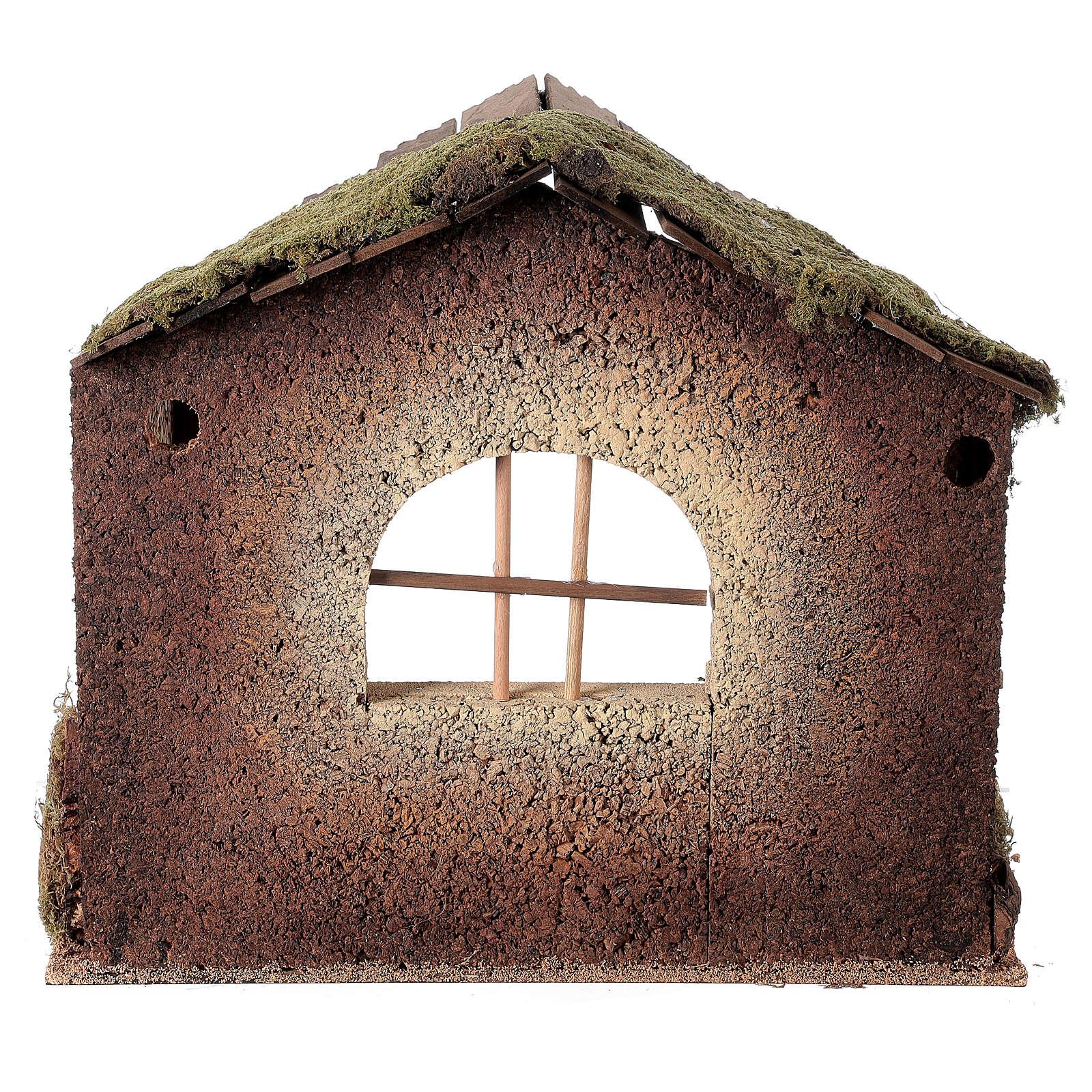 Capanna rustica Natività 20 cm tetto assi 45x50x35 cm 4