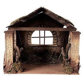 Capanna rustica Natività 20 cm tetto assi 45x50x35 cm s1