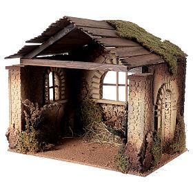 Capanna rustica Natività 20 cm tetto assi 45x50x35 cm s2