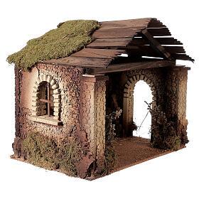 Capanna rustica Natività 20 cm tetto assi 45x50x35 cm s3