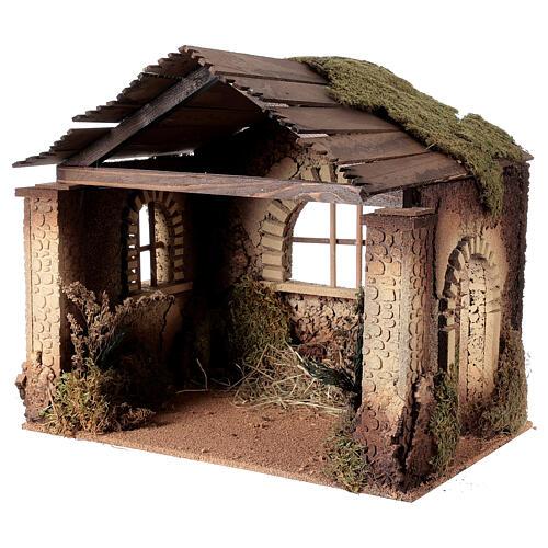 Capanna rustica Natività 20 cm tetto assi 45x50x35 cm 2