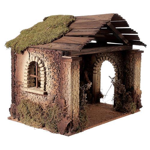 Capanna rustica Natività 20 cm tetto assi 45x50x35 cm 3