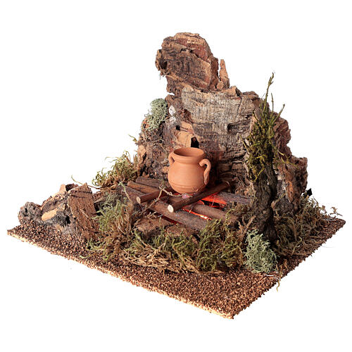 Fire with pot for Nativity scene 10-12 cm 3
