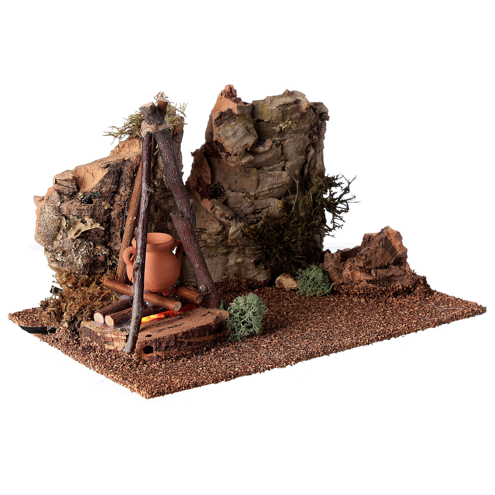 Bivouac setting with flame effect for Nativity scene 12-14 cm 4