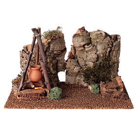 Bivouac setting with flame effect for Nativity scene 12-14 cm s1