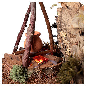 Bivouac setting with flame effect for Nativity scene 12-14 cm s2