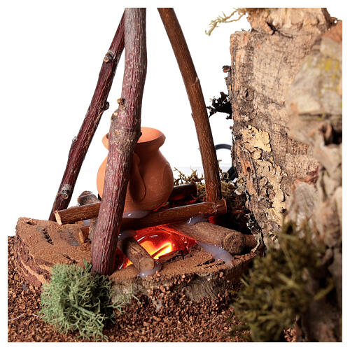 Bivouac setting with flame effect for Nativity scene 12-14 cm 2
