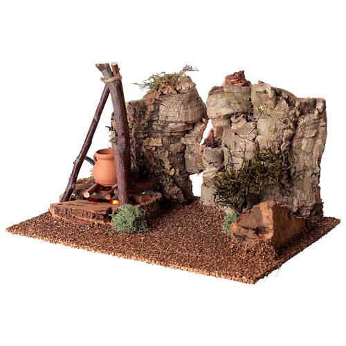 Bivouac setting with flame effect for Nativity scene 12-14 cm 3