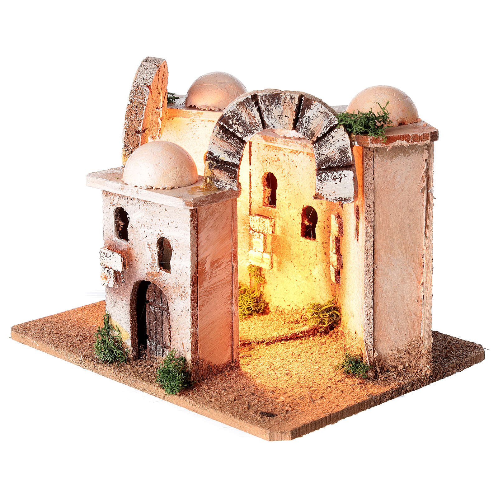 Illuminated minaret setting 15x20x15 cm for Nativity Scene with 4-6 cm figurines 4