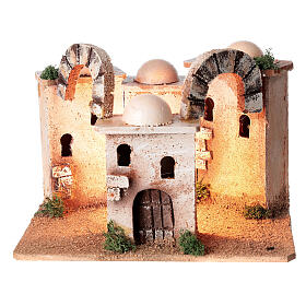 Illuminated minaret setting 15x20x15 cm for Nativity Scene with 4-6 cm figurines s1