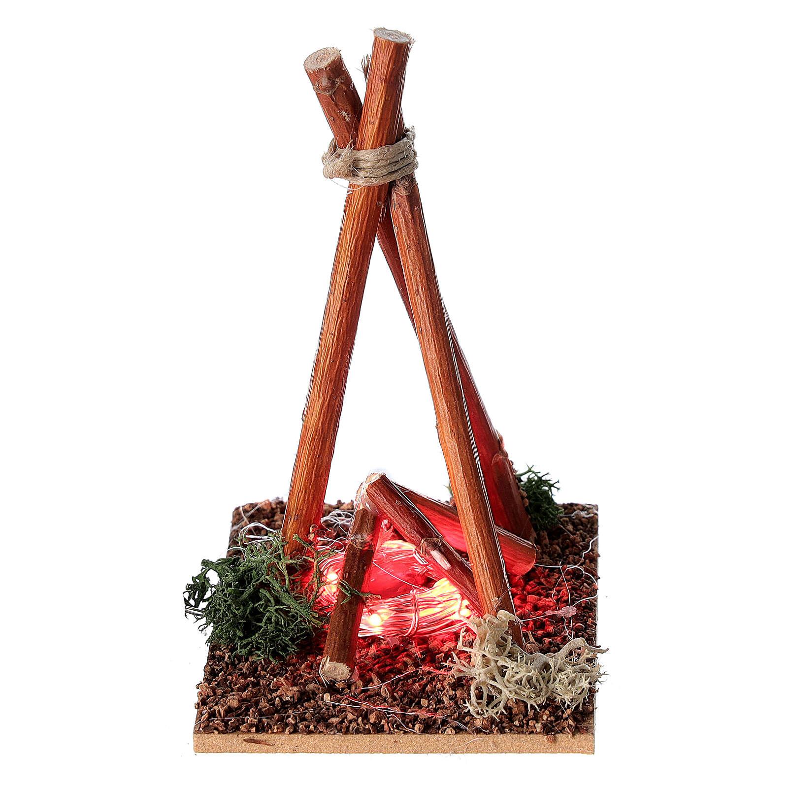 Fire effect miniature Nativity scene 8-10 cm 4
