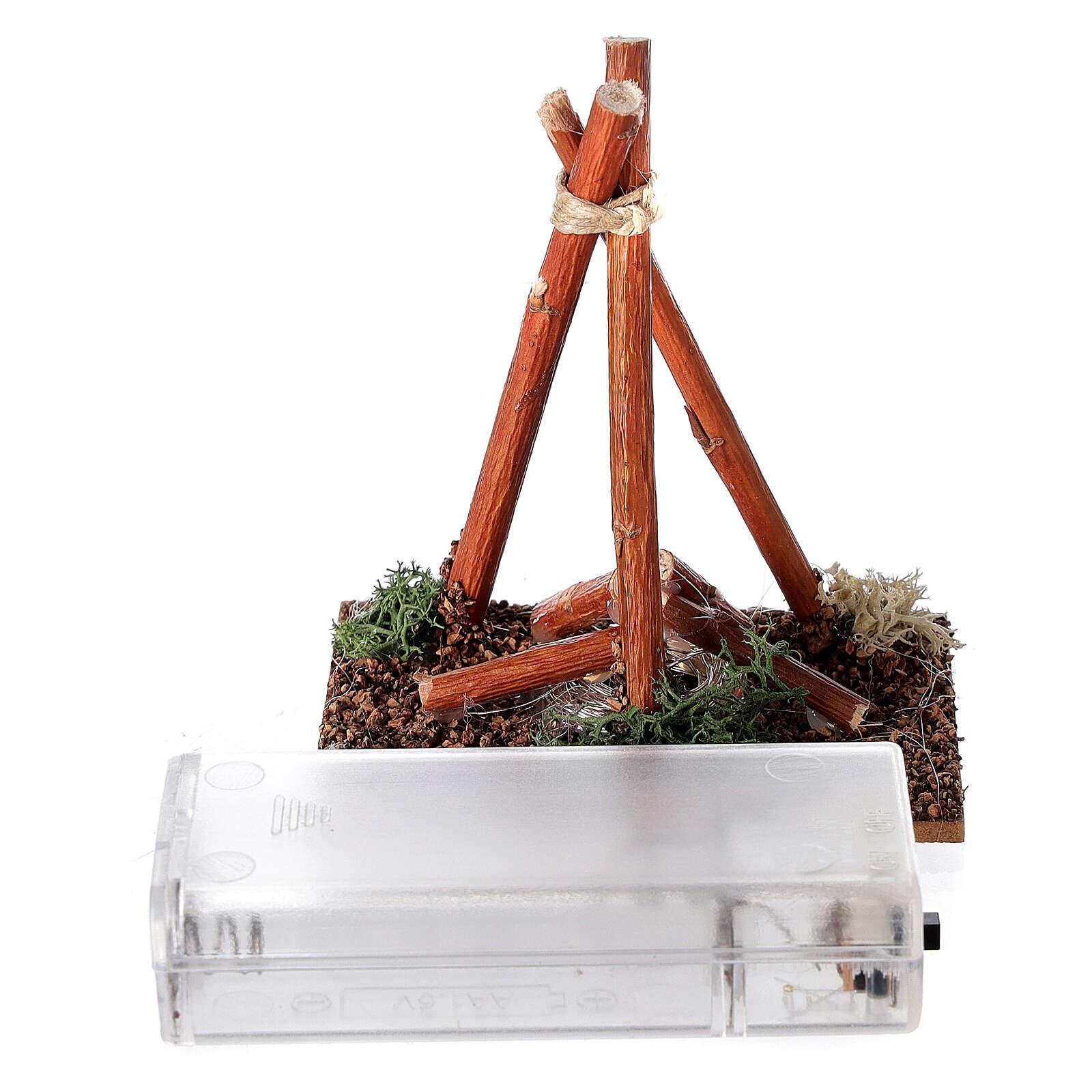 Fogueira com luz efeito cama miniatura para presépio com figuras altura média 8-10 cm 4