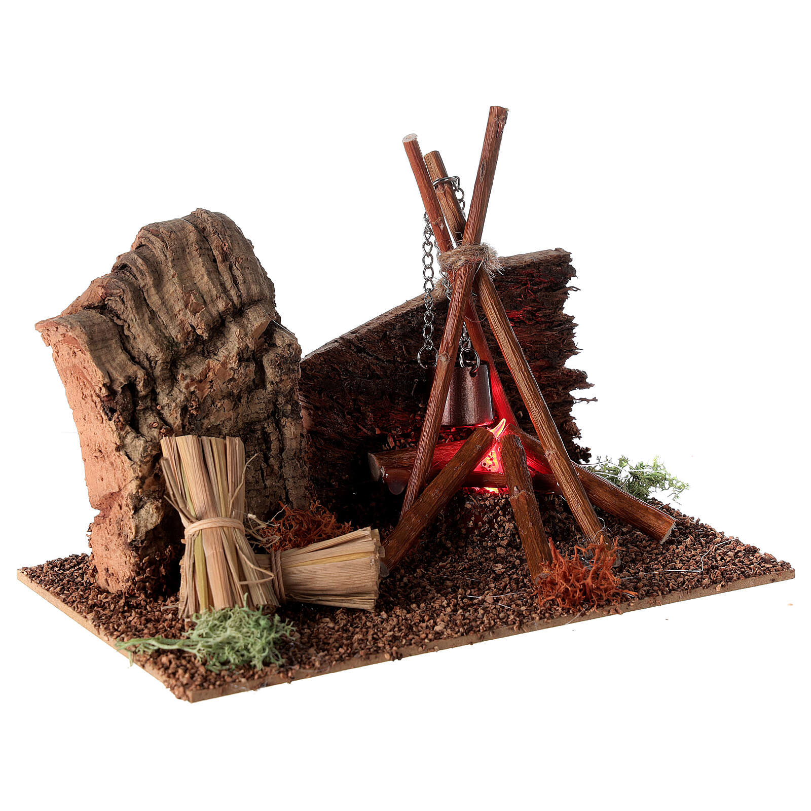 Bivaque com panela miniatura para presépio com figuras altura média 8-10 cm 4