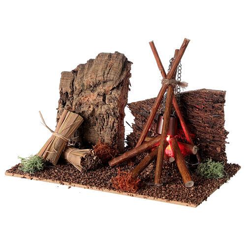 Bivaque com panela miniatura para presépio com figuras altura média 8-10 cm 2