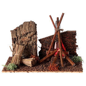 Firecamp with pot for Nativity Scene with 8-10 cm figurines s1