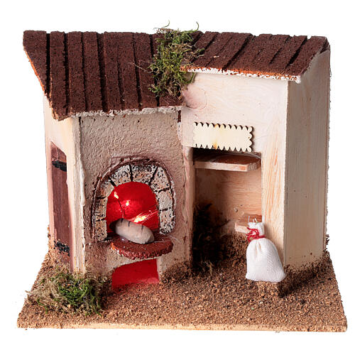 Baker's shop with bread for Nativity Scene 8 cm 15x20x10 cm 1