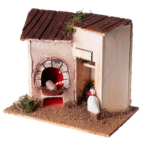 Baker's shop with bread for Nativity Scene 8 cm 15x20x10 cm 2