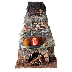 Oven with flame effect light for Nativity scene 8-10 cm s1