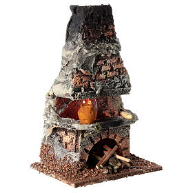 Oven with flame effect light for Nativity scene 8-10 cm s4