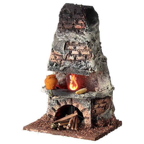 Oven with flame effect light for Nativity scene 8-10 cm 3