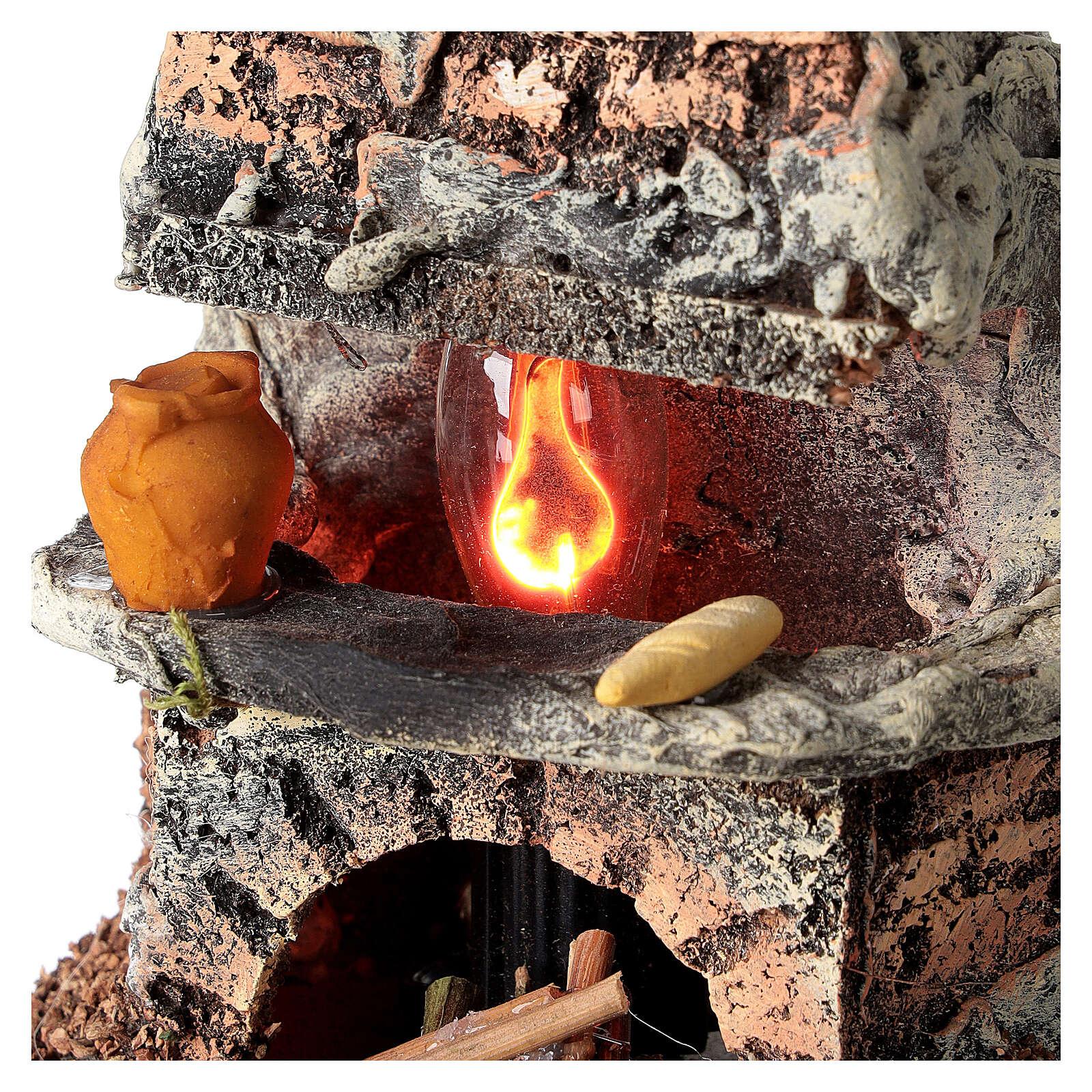 Forno luce effetto fiamma presepe 8-10 cm 4