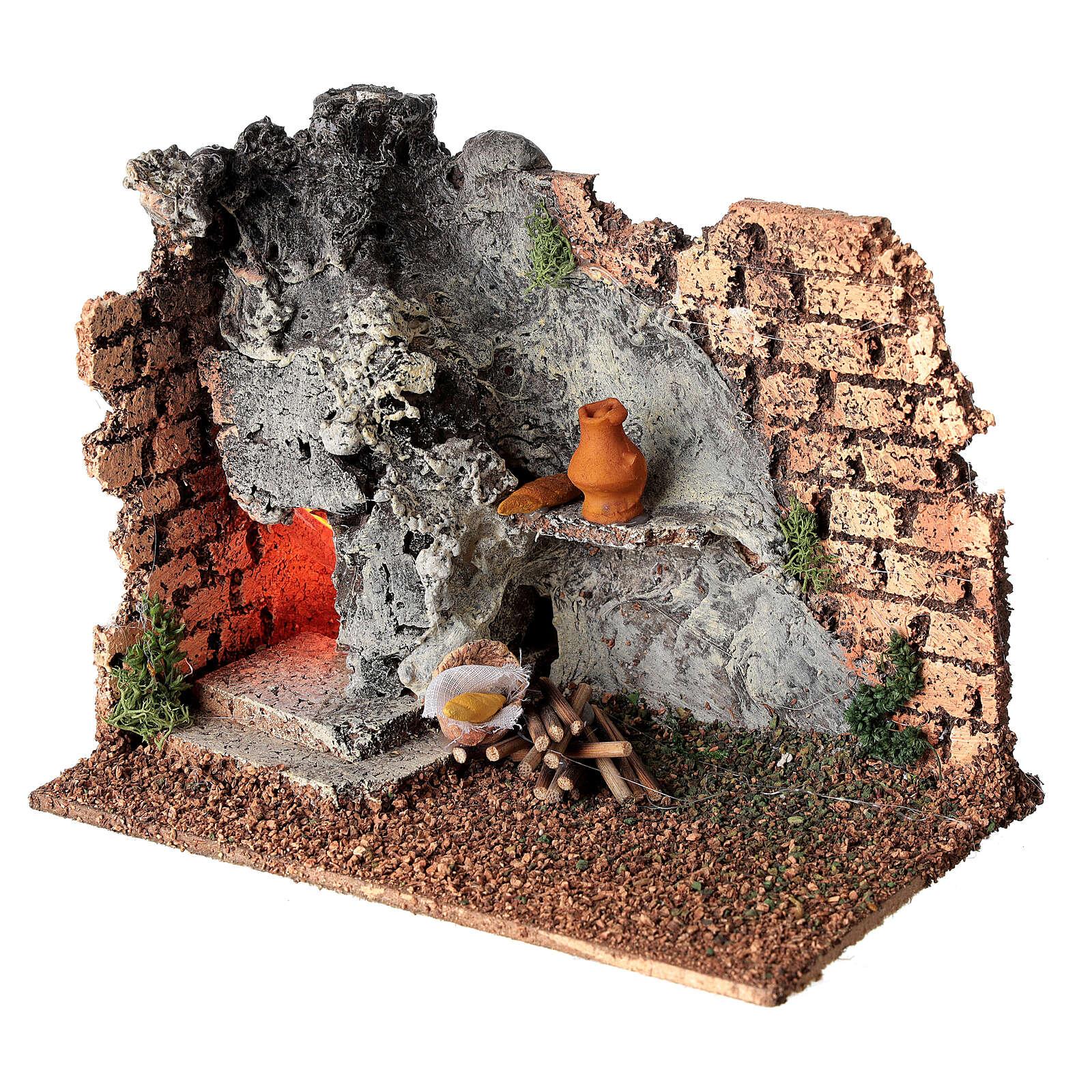 Forno angular paredes tijolos e luz efeito chama para presépio com figuras altura média 8-10 cm, medidas: 15x9,5x7,5 cm 4