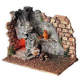 Forno angular paredes tijolos e luz efeito chama para presépio com figuras altura média 8-10 cm, medidas: 15x9,5x7,5 cm s3