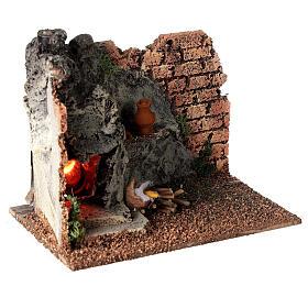 Forno angular paredes tijolos e luz efeito chama para presépio com figuras altura média 8-10 cm, medidas: 15x9,5x7,5 cm s4