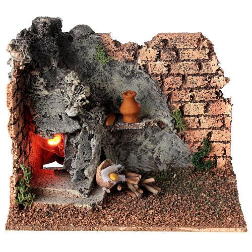 Forno angular paredes tijolos e luz efeito chama para presépio com figuras altura média 8-10 cm, medidas: 15x9,5x7,5 cm 1
