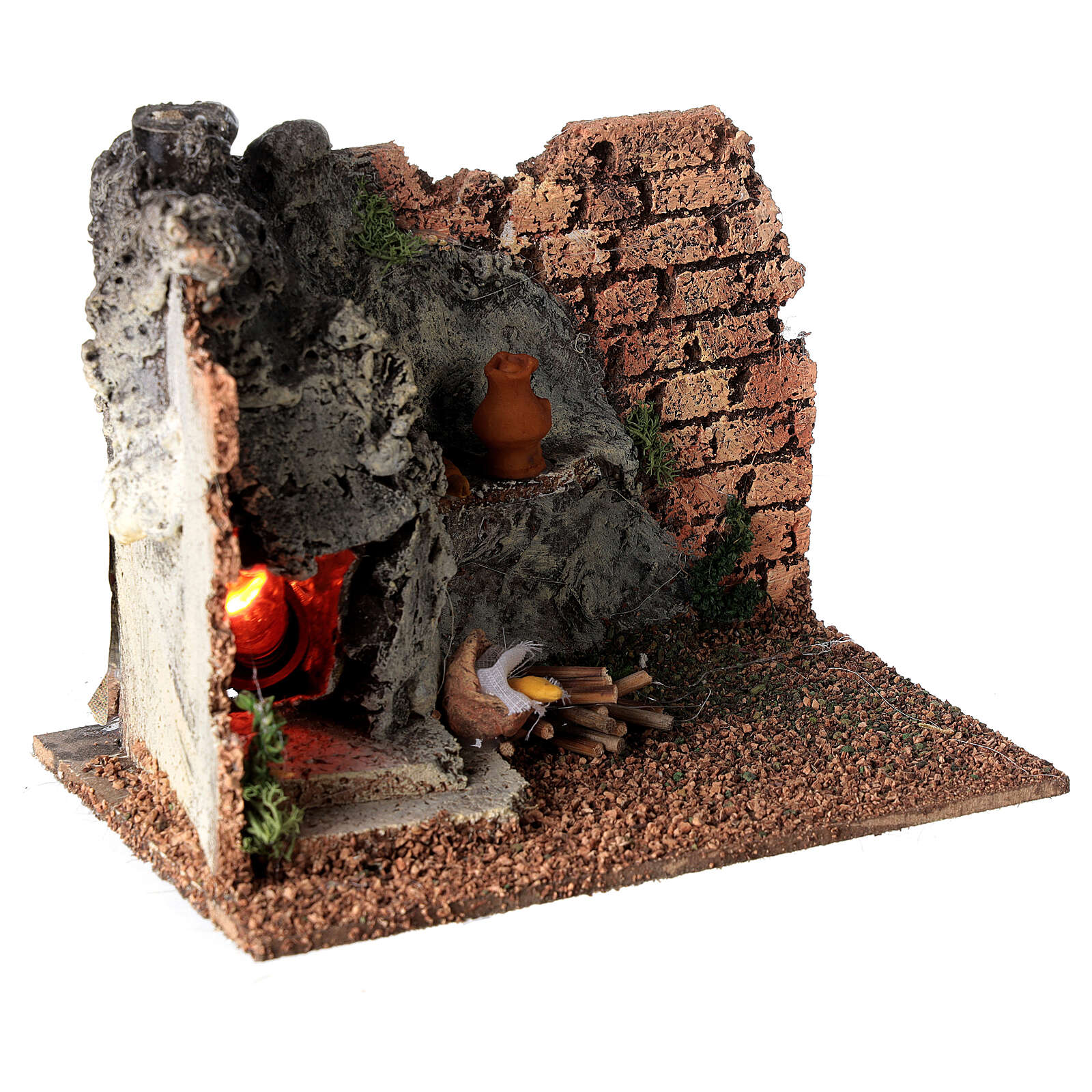 Corner masonry oven with flame effect for Nativity Scene with 8-10 cm figurines 4